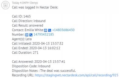 Nectar Desk & Salesforce call log