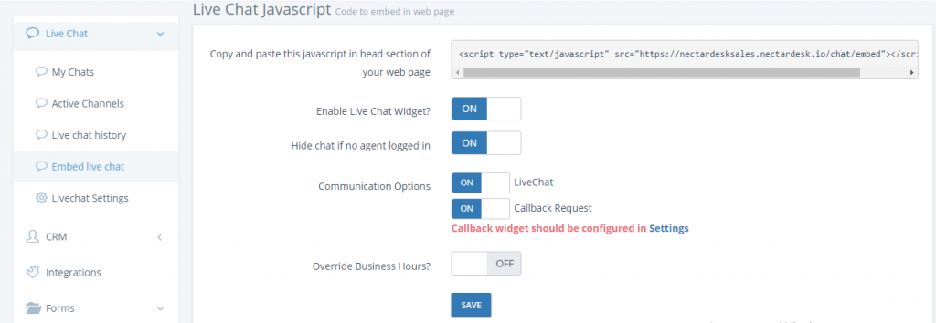 Embed live chat