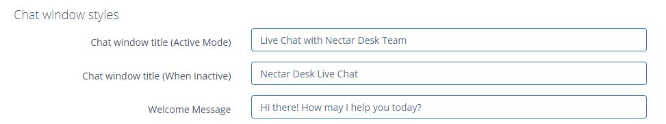 live chat Settings